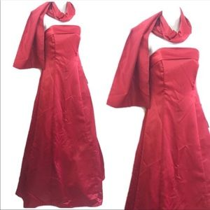 Jump RED strapless MAXI formal gown w shawl 5-6 NW